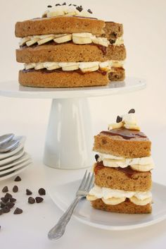 Banana chocolate chip cake with caramel and whipped cream