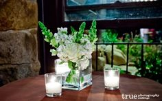 Green and white belly bar floral arrangements - A Unique and Charming Wedding at Mt. Woodson Castle | Ramona, California