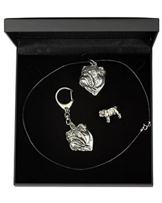 NEW, English Bulldog, dog keyring, necklace and pin in casket, DELUXE set, limited edition, ArtDog ** Find out more about the great product at the image link.