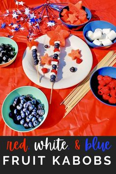 These red, white, and blue fruit skewers are the pefect patriotic snack! Kids and adults will love them! For the white you can also use cheese or banana! Make them ahead of time or have them as a fruit bar! Such a fun snack idea!