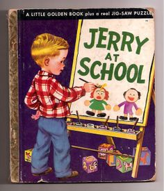 Vintage Rare Childrens Little Golden Book Jerry At School 94 A Edition 1950 Copy Jig Saw Puzzle Missing