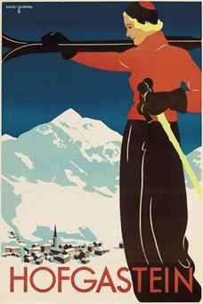 vintage ski poster by Edith Riedel and Olga Zaremba #HOFGASTEIN, Austria