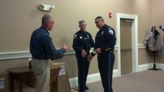 Captain Michael Dudash, Council Chair Finlay Rothhaus-30 Years of Service 2