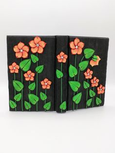 Orange Flower Journal; Polymer Clay Journal; Custom Flower Art Journal; Floral Sketchbook; Style No.: ORF03 by EmilyMah on Etsy