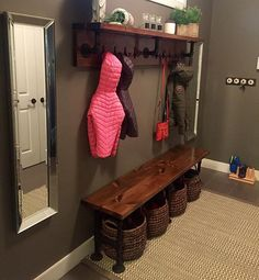 My DIY mudroom made out of pipe and pine! I'd say I was fairly inspired by all the #fixerupper shows I've been watching! @joannagaines @fixer_upper_fanpage #pine #pipefurniture #galvanizedpipe #pipebench #pipeshelf