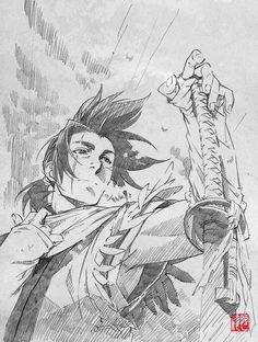 Nanashi, Stanger: Mukou Hadan (Sword of the Stranger), Art by Saito Tsunenori (Character Design and Animation Director, Studio Bones) Manga Anime, Art Anime, Anime Kunst, Manga Drawing, Manga Art, Drawing Sketches, Cool Drawings, Drawing Tips, Character Concept