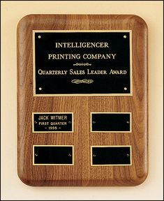 Solid American Walnut Quarterly Award Plaque With 4 Plates