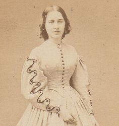 Young Beautiful Civil War Era Woman in Fine Light Color Dress Fall River MA Crit | eBay