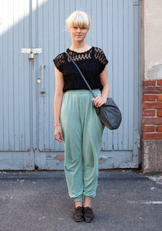 Another way to rock sweatpants- sexy lace top, that still has a cute cut. Very nice.