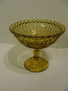 "EAPG Adams Glass Co's Amber ""Thousand Eye"" pattern Compote, circa 1880's, 5""H x 5.5""D. 12/25/2019. Amber Glass, Eye Pattern, Antique Glass, Serving Bowls, Tableware, Ebay, Dinnerware, Eye Chart"