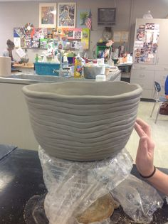 Large coil built bowl High School Ceramics, Clay Extruder, Coil Pots, Ceramics Projects, Large Bowl, Project Ideas, Middle School, Art Nouveau, Bowls