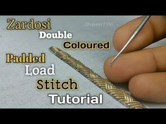 In this video you will learn Zardosi double coloured padded load stitch. ○○●●WELCOME to SHAKEEL FYM●●○○ This video i m going to show you padded load stitch u. Zardozi Embroidery, Tambour Embroidery, Hand Embroidery Videos, Hand Embroidery Flowers, Embroidery Stitches Tutorial, Hand Work Embroidery, Hand Embroidery Designs, Embroidery Techniques, Folk Embroidery