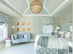 Master bedroom, idea for vaulted ceiling- trim and grasscloth