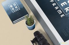 Both books and plant pot have separate smart objects. #free #freebie #mockup #psd #photoshop #frame #poster #book #plantpot #branding #presentation