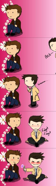 Destiel Flower Silly comics for fun. Background was a photo I got off google images a long time back, if someone would know the source I'd be happy to add it :)