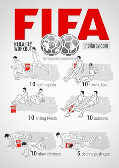 "You are sitting in your couch and watching the World Cup. It is a good time to drink some beer and eat a lot of junk food. But, if you want to stay fit and fight with your body fats in half times, you can do this workout on your couch. Here is a great workout named ""FIFA Workout"" by Neila Rey. This workout got 6 exercises;"