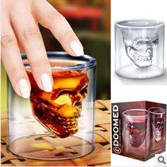 2PCS Newest Doomed Crystal Skull Shot Glass,Crystal Skull Head Vodka Shot Wine Glass Novelty Cup Free Shipping