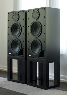 The Tocaro 45D Loudspeakers with and without grilles