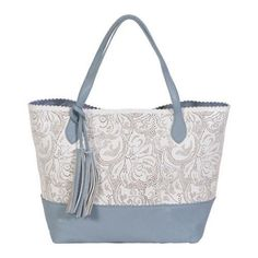 This two-toned shoulder bag stands out with its delicate design. It features double handles, a decorative tassel, and a removable pouch with two slip pockets and a zipper pocket.