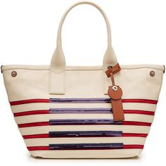 Marc by Marc Jacobs Large Striped Tote (€190) ❤ liked on Polyvore featuring bags, handbags, tote bags, multicolored, pink tote purse, marc by marc jacobs tote, pink handbags, striped tote bag and sequin tote