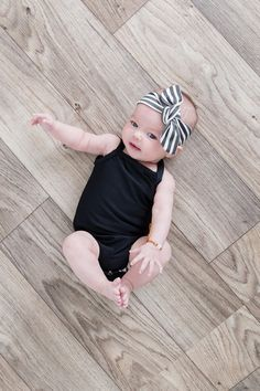 Baby Infant Black Stripe Knot Headband / by TheSproutedArrow