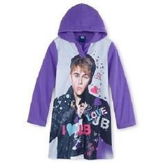Justin BIEBER Hooded Purple Nightgown PAJAMAS Girl's 14 NeW Soft Fleece Pjs Gown #JustinBieber #Nightgown #JustinBieberPajamas