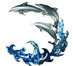 3 Dolphins leaping the wave, metal wall art. The piece changes color with the lighting and the direction viewed.  Used indoors or outdoors.