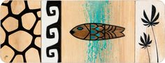 """""""Free as the Fish"""" © Erik Abel 2011<br>32x12in, Acrylic and mixed media on wood."""