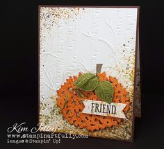 Stampin Artfully uses Thoughtful Branches for a pumpkin-y fall card!