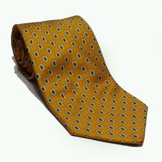 """Brooks Brothers Men Dress #silk tie 3-3/4"""" wide 57"""" long Yellow with print USA BrooksBrothers visit our ebay store at  http://stores.ebay.com/esquirestore"""