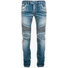 Balmain - Slim-fit stretch cotton denim biker jeans - Mens biker jeans ($960) ❤ liked on Polyvore featuring men's fashion, men's clothing, men's jeans, mens slim fit jeans, balmain men's jeans, mens slim cut jeans, mens jeans and mens slim jeans