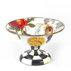MacKenzie-Childs Flower Market Compote Dish/Small (240 BRL) ❤ liked on Polyvore featuring home, kitchen & dining, serveware, english dishes and mackenzie childs dishes