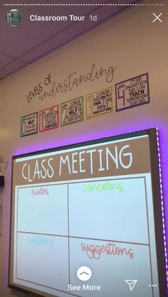 Classroom - class meeting every Friday kudos, concerns, questions, suggestions students pick one category and stick a postit note up 5th Grade Classroom, Middle School Classroom, Classroom Behavior, Future Classroom, Classroom Meeting, Year 6 Classroom, Classroom Procedures, Upper Elementary, Elementary Education