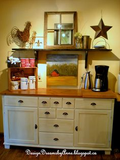 Cottage Industrial style home tour Cute. Coffee station, could use drawers for silverware and other table ware! Coffee station, could use drawers for silverware and other table ware! Ikea Markor, Kitchen Dining, Kitchen Decor, Dining Room, Kitchen Buffet, Cozy Kitchen, Dining Area, Kitchen Ideas, Coffee Corner