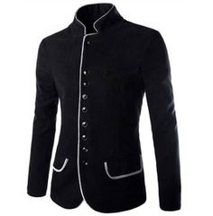 Men's Black/Brown Woolen Casual Winter Jacket