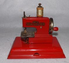 Vintage Kay-an-Ee Sew Master Child's Red Sewing Machine Germany - Excellent!