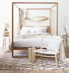 Reminiscent of exotic travels the Strand Poster Bed Reclaimed is beautifully organic earthy and naturally modern. Fun and simple design that is both functiona - March 09 2019 at Furniture, Home Decor Bedroom, Boho Bedroom Design, Home Decor, Bedroom Inspirations, Modern Bedroom, Small Bedroom, Coastal Bedrooms, Furniture Design