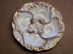 Antique French GDM Haviland Limoges Gold Rim Oyster Oyster Plate