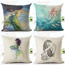 Sexy Mermaid pattern Marine Style Cushion Cover Customized Throw Pillow Home Decorative Cotton Linen Square Printing Cojines(China (Mainland)) Mermaid Room, Home Textile, Beautiful Creatures, The Little Mermaid, Cotton Linen, Decorative Pillows, Pillow Covers, Gadgets, Design Inspiration