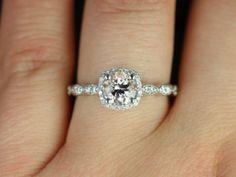 Christie 14kt White Gold Morganite Cushion Halo Engagement Ring