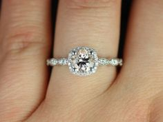 Christie 14kt White Gold Morganite Cushion Halo Engagement Ring