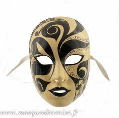 MASQUE DE VENISE VOLTO RETRO AUTHENTIQUE EN PAPIER MACHE -MASQUE VENITIEN 4- masque de Venise artisanal