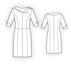 Dress With Collar  - Sewing Pattern #4251 Made-to-measure sewing pattern from Lekala with free online download.