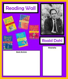 Everything you need for a Roald Dahl display. Display plan and materials included. Roald Dahl picture will need blowing up to PDF include. Teaching Displays, Class Displays, Classroom Displays, Roald Dahl Biography, School Resources, Teaching Resources, Roald Dalh, Roald Dahl Day, Reading Display