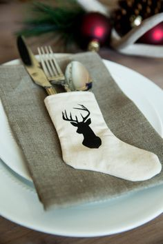 A merry way to present flatware on your holiday table, these mini utensil stockings come in different styles and variations to coordinate any number of styles. Purchase yours now at PinkSlipInspiration.com