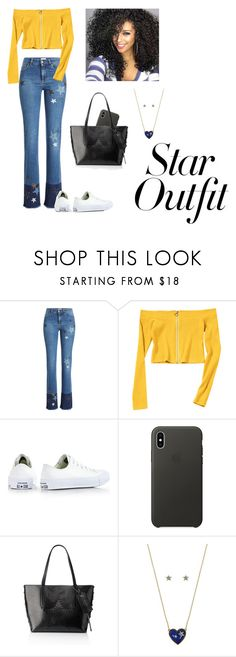 """Shine bright like a star"" by nadyfalves ❤ liked on Polyvore featuring RED Valentino, Converse, Apple, Jimmy Choo, Betsey Johnson and StarOutfits"