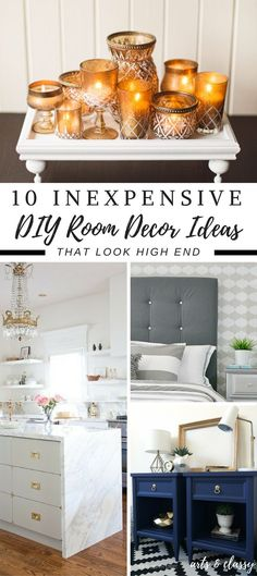 10 Inexpensive DIY Room Decor Ideas You Can Easily Make and that look high-end! It doesn't cost a lot to make your home look high-end. It just takes thinking outside the box and a little elbow grease.