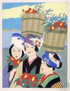 Paul Jacoulet (c. 1896 - 1960): Fleurs D'Hiver. Oshima, Japon, 1955 http://www.angelfire.com/poetry/ofthespirit/page30.html
