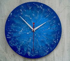 Blue texture wall clock  Modern wooden wall от ClockArtVintage #ClockArtVintage #wallclock Clock Painting, Clock Art, Clock Decor, Handmade Wall Clocks, Unique Wall Clocks, Wooden Clock, Wooden Walls, Minimalist Wall Clocks, Blue Wall Clocks