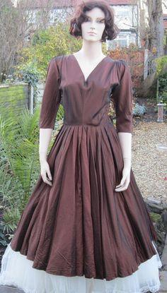 Vintage 50s dress Henry Rosenfeld bronze by vintageartizania, $124.99
